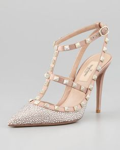 Rockstud Crystallized T-Strap Slingback, Poudre by Valentino at Neiman Marcus.Valentino Rockstud Crystallized T-Strap Slingback, Poudre MXN Fab Shoes, Pretty Shoes, Dream Shoes, Beautiful Shoes, Me Too Shoes, Shoes Heels, Slingback Shoes, Valentino Rockstud, Valentino Shoes