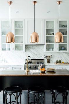 Contemporary Kitchen with Original BTC Stanley Hammered Copper Large Pendant Light, Pendant light, Concrete floors