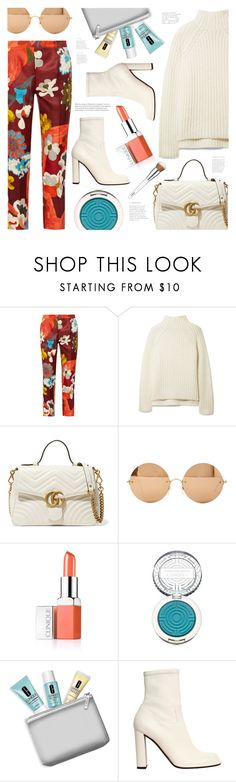 """""""Thinking of Spring"""" by ames-ym ❤ liked on Polyvore featuring Prada, Theory, Gucci, Victoria Beckham, Clinique, Mulberry, floralpants, ankleboots, turtleneck and Whiteboots"""