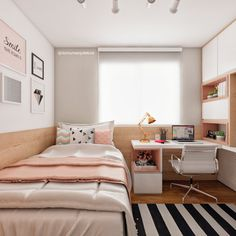 Room decor quarto pequeno 49 New ideas Tiny Bedroom Design, Girl Bedroom Designs, Home Room Design, Room Ideas Bedroom, Small Room Bedroom, Home Decor Bedroom, Bedroom With Office, Diy Bedroom, Small Teen Room