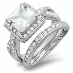 Amazon.com: 2.50 Carat (ctw) Platinum Plated Halo Ladies Princess Round Cubic Zirconia CZ Wedding Bridal Engagement Ring with Matching Band ...