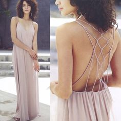"KAYLEN open back maxi dress - NUDE This sleeveless maxi dress features a strappy back and a v-neckline. Description: L: 60"" B: 34"" W: 40"" Fabric 100% Polyester . PRICE FIRM Bellanblue Dresses Maxi"