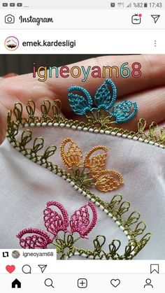 Needle Lace Source by huriyesozer Baby Knitting Patterns, Crochet Edging Patterns, Crochet Borders, Craft Patterns, Needle Tatting, Tatting Lace, Needle Lace, Crochet Unique, Point Lace