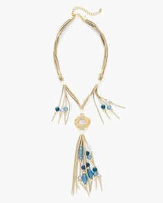 Sueded strands set the backdrop for rich faux-seaglass beadwork in this neutral lariat necklace elevated by gold-tone touches.   Metal, suede, other, resin and cubic zirconia.  Imported.