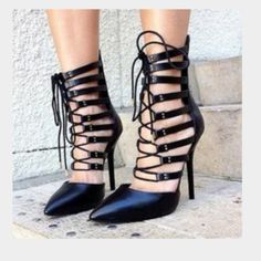 HOST PICKSteve Madden leather lace up heels NEVER WORN PERFECT CONDITION. 6.5 but definitely fits a 7 Steve Madden Shoes Heels