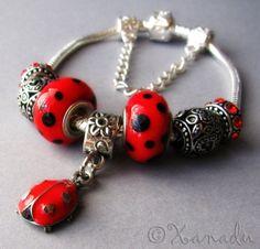 Red Black Ladybug European Charm Bracelet With by xanaducharms, $19.95#xanadudesigns #pandora #bracelet #jewelry #fashion #ladybug