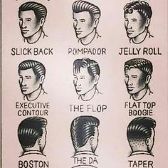 1950's guy hairstyles. (The DA makes me laugh!) ;D