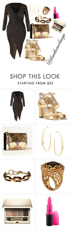 """plus size on point"" by bankemelange ❤ liked on Polyvore featuring Jimmy Choo, Karen Millen, Lana, Bling Jewelry, Marika, Clarins and MAC Cosmetics"