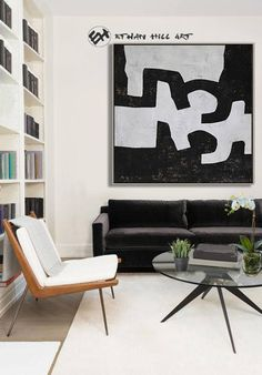 Black and White Canvas Art Abstract Painting Textured image 3 White Canvas Art, Black And White Canvas, Abstract Animals, Abstract Art, Frame Store, Minimalist Painting, Mid Century Modern Art, Wooden Bar, Wall Art Sets