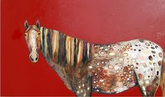 Appaloosa in Gloss Heirloom Tomato Red  2011  @ Eli Halpin   oil and mixed media on recycled wood  3' x 5'