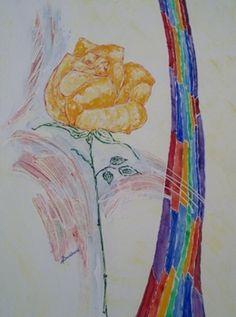 gelber rose mit regenbogen