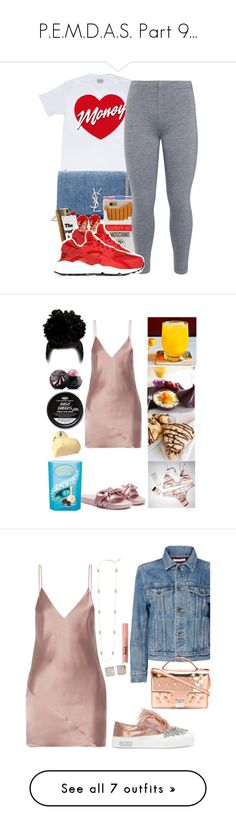 """P.E.M.D.A.S. Part 9..."" by slickpoet ❤ liked on Polyvore featuring Yves Saint Laurent, Moschino, John Lewis, NIKE, Fleur du Mal, Lindt, Bellini, Eos, Kendra Scott and Kate Spade"