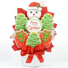 Bring on the Christmas cheer with this adorable, hand-decorated cutout cookie bouquet!