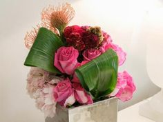 Peonies, roses and hydrangeas are the stars of these voluptuous arrangements by British celeb floristMcQueens.