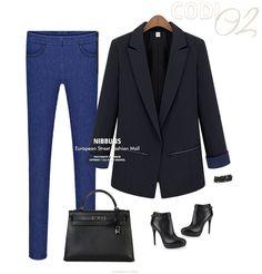 Item No: B049 (Black)    Material: Polyester Span    Measurement: Length:71-75cm Shoulder:36cm Bust:88cm Sleeve:59cm