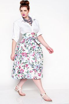 JIBRI Plus Size High Waist Floral Flare Midi Skirt by jibrionline, $130.00
