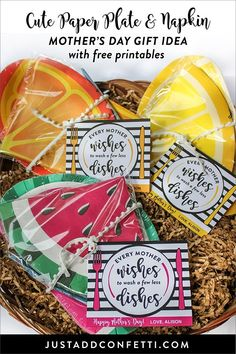 Every Mother Wishes to Wash a Few Less Dishes! This cute little paper plate and napkin Mother's Day gift idea is perfect for friends or any special mom in your life. Being a mom is by far the most rewarding, amazing, challenging, messy, beautiful job in the whole world. I feel blessed every. single. day. that I am able to be a mother to my boys. I am also so grateful for the tribe of moms I've met along the way—their friendship and support means so very much to me. #mothersday #freeprintable