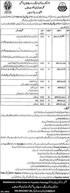 Population Welfare Department Data Analyst Jobs 2021 in Lahore