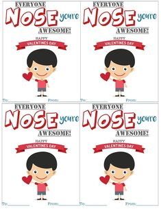 Everyone NOSE you're awesome free printable valentines from Kara's Party Ideas | KarasPartyIdeas.com Unique and original