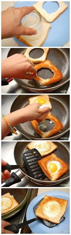 Ive made these for years! We called them man in a boat. How to Make Eggs in a Basket Adrienne scrambles the egg a bit and puts a slice of cheese on it then cuts it when it cools. Brunch Recipes, Breakfast Recipes, Brunch Food, Breakfast Ideas, Kids Meals, Easy Meals, Cuisine Diverse, Cooking Recipes, Healthy Recipes