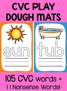 **Half Price till May 26** Students really love play dough! Make a snake, form the words and write them with dry erase marker. Couldn't be simpler! $ #CVCwords #playdoughmats