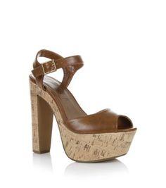 Tan Cork Platform Sandals