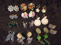 VINTAGE LOT BOHO EARRINGS MODERN CORO STERLING B & N MURANO GLASS CLIP ONS F