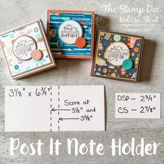 Post It Note Holder Tutorial – Scrapbooking Neli Quilling, Post It Note Holders, Scrapbooking, Craft Show Ideas, Sticky Notes, Craft Fairs, Stampin Up Cards, Making Ideas, Diy Gifts
