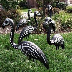 Recycle plastic garden ornaments Sugar skull design