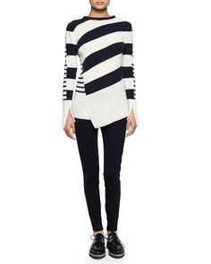 Alexander McQueen Multi-Stripe Asymmetric-Hem Sweater & Ankle-Zip Legging Pants