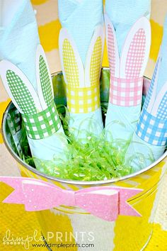DIY:: I Love These! Free Printable bunny ear napkin rings !!