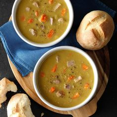 Slow-Cooker Split Pea Soup - Taste of Home Best Slow Cooker, Slow Cooker Soup, Slow Cooker Recipes, Crockpot Recipes, Soup Recipes, Cooking Recipes, Freezer Recipes, Crock Pot Soup, Crockpot Dishes
