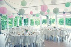 décoration mariage pastel, pink, green, wedding decor, lampions