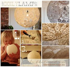 Excellent way to display and preserve your Grandmother's talent for crocheting instead of hiding them away in a cabinet DIY Doily lamp. Single, large or three small at diff heights clustered. Diy Projects To Try, Home Projects, Home Crafts, Fun Crafts, Diy Home Decor, Diy And Crafts, Arts And Crafts, Doily Lamp, Do It Yourself Design