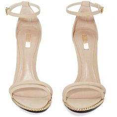 Schutz Panteria Heel Nude ($126) ❤ liked on Polyvore featuring shoes, sandals, heels, zapatos, nude footwear, nude heel shoes, leather sole shoes, jeffrey campbell footwear and toe strap sandals
