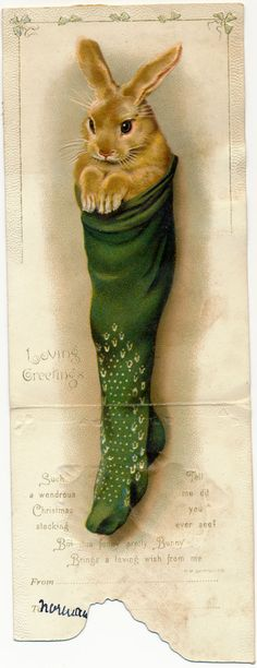 Bunny rabbit in stocking ~ Victorian Christmas card Vintage Christmas Images, Victorian Christmas, Retro Christmas, Vintage Holiday, Christmas Pictures, Christmas Art, Christmas Greetings, Christmas Mantles, Christmas Villages