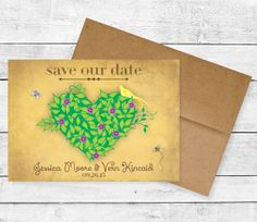 "Heart & Vines Save the Date / ""Vintage"" Paper by Alli's Studio"