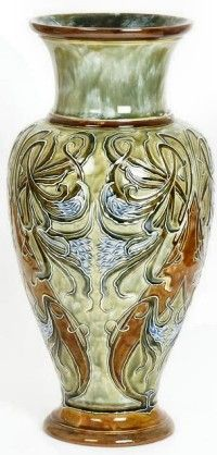 A large Royal Doulton stoneware vase by Elisa Simmance, impressed and incised marks, 47cm. high. Hammer Price £500 Wooley & Wallis, Salisbury, 18 June 2014