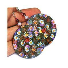 Meadow Flowers Round decoupage jewelry Lilac violet by MADEbyMADA, $20.00
