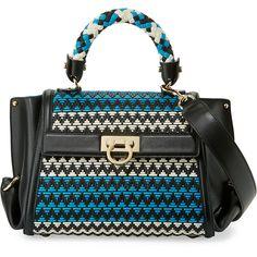 3b4bd211e8 Salvatore Ferragamo Sofia Small Woven Leather Satchel Bag ( 2