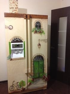 Super creative hand painted refrigerator mural that makes the fridge look like a house. Refrigerator Makeover, Paint Refrigerator, Painted Fridge, Crazy Home, Cottage Style Decor, Antique Paint, Home Hacks, Furniture Making, Wall Murals