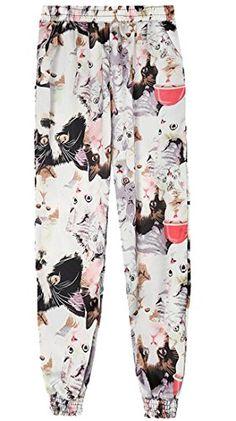 8df30f5722e3 ARTFFEL-Women Stylish Elastic Waist Printed Loose Cropped Harem Jogger Pants