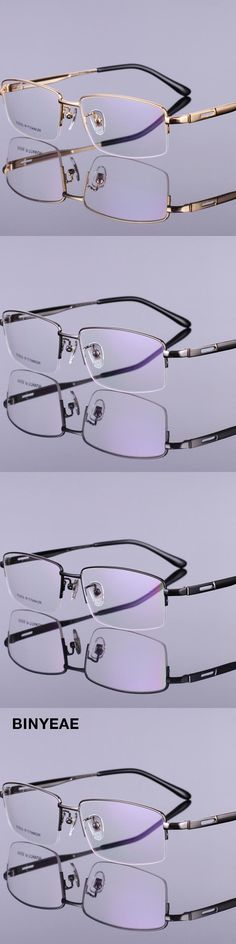 BINYEAE 958 Men Optical Eyeglasses Titanium Half Rim Alloy Metal Men Eyewear