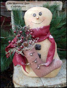 PatternMart.com ::. PatternMart: Primitive Snowman Wee PATTERN OHBPM