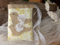 Burlap dollar dance bag Lace drawstring by MilliesBridalShop, $29.99