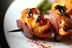 Recipe: Charred Baby Octopus Skewers with Korean Chili Marinade, Red Onion, Meyer Lemon