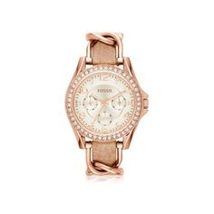 Fossil Women's Watches Riley Rose Gold Tone Stainless Steel Case and... ($190) ❤ liked on Polyvore featuring jewelry, watches, gold, women's watches, fossil wrist watch, nude jewelry, stainless steel jewelry, water resistant watches and fossil watches