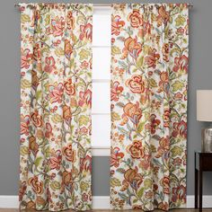 The Pillow Collection Jacobean Single Curtain Panel Boho Living Room, Drapes Curtains, Grey Window Treatments, Curtains, Panel Curtains, Mid Century Modern Curtains, The Pillow Collection, Made To Measure Curtains, Cool Curtains