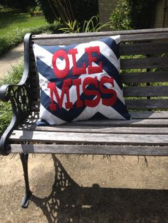 A perfect pillow for the Ole Miss fan. The pillow cover, insert not included, is 18 x Ole Miss in red burlap, appliqued onto large navy Southern Cottage, Ole Miss Rebels, Magnolia Trees, Sewing Pillows, Pillow Ideas, Alma Mater, Silhouette Cameo Projects, Dorm Rooms, College Football