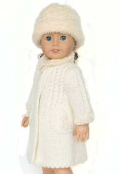 Winter Wonderland - white coat and hat - PDF knitting pattern for American Girl dolls, Permission to Sell